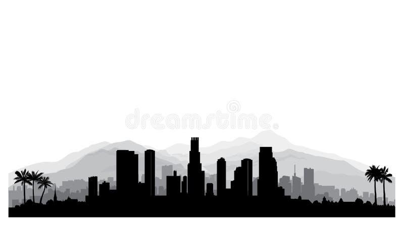 Skyline de Los Angeles, EUA Silhueta da cidade com buildi do arranha-céus ilustração royalty free
