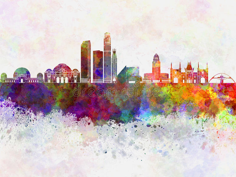 Skyline de Los Angeles no fundo da aquarela ilustração do vetor
