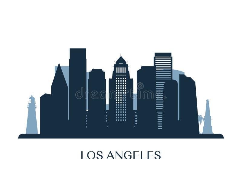 Skyline de Los Angeles, silhueta monocromática ilustração stock