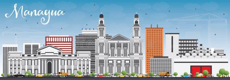Skyline de Managua com Gray Buildings e o céu azul ilustração do vetor