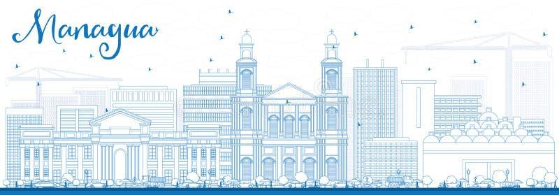Skyline de Managua do esboço com construções azuis ilustração stock