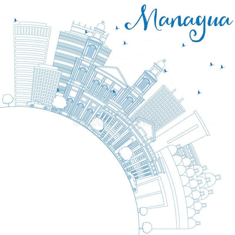 Skyline de Managua do esboço com construções e espaço azuis da cópia ilustração do vetor