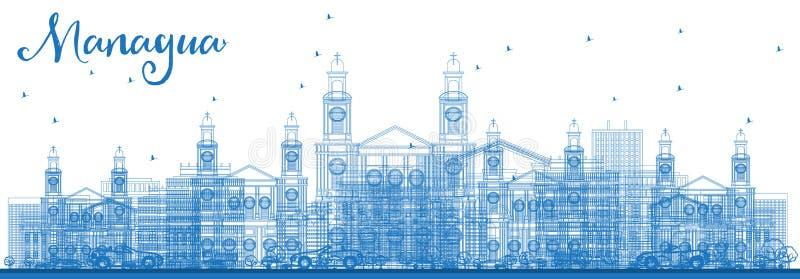 Skyline de Managua Nicarágua do esboço com construções azuis ilustração stock