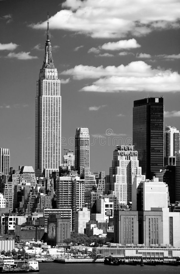 A skyline de Manhattan do Midtown foto de stock