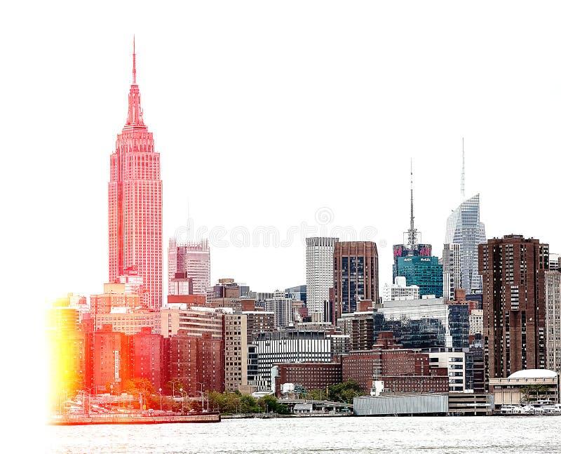 Skyline de Manhattan do Midtown com Empire State Building imagens de stock