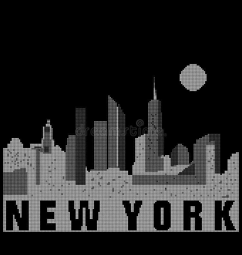 Skyline de Manhattan estilizada em preto e branco ilustração royalty free