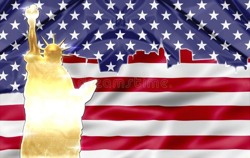 Skyline de Manhattan - New York - símbolos patrióticos ilustração do vetor