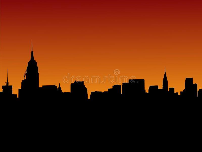 Skyline de Manhattan no por do sol ilustração stock