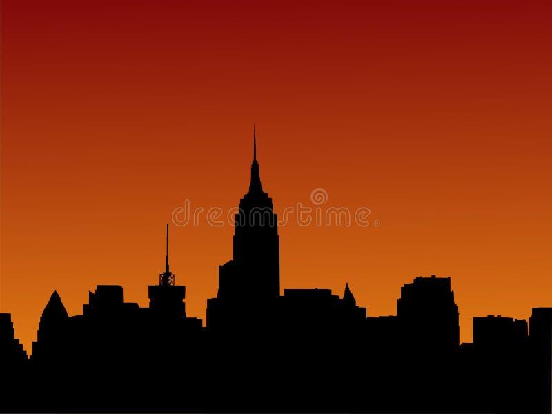 Skyline de Manhattan no por do sol ilustração do vetor