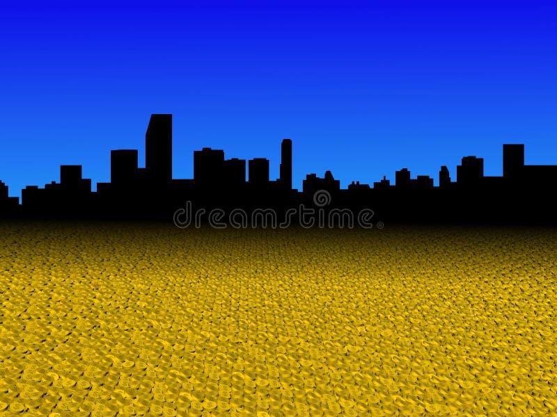 A skyline de Miami com dólar dourado inventa a ilustração do primeiro plano ilustração do vetor