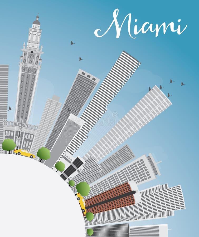Skyline de Miami com Gray Buildings, o céu azul e o espaço da cópia ilustração do vetor