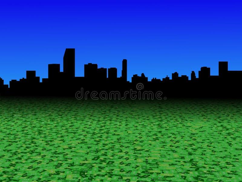 Skyline de Miami com ilustração abstrata do primeiro plano da moeda do dólar ilustração royalty free