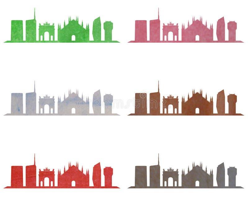 Skyline de Milão na aquarela ilustração royalty free