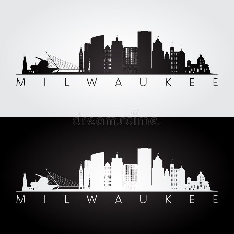 Skyline de Milwaukee EUA e silhueta dos marcos ilustração royalty free