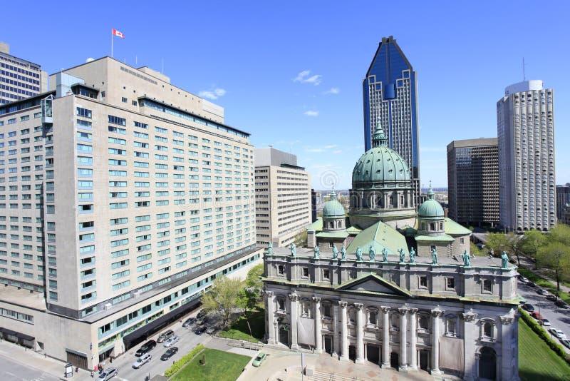 Skyline de Montreal, lugar du Canadá, vista aérea imagem de stock royalty free