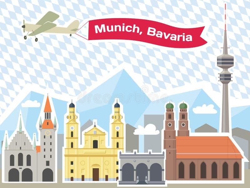 Skyline de Munich ilustração royalty free