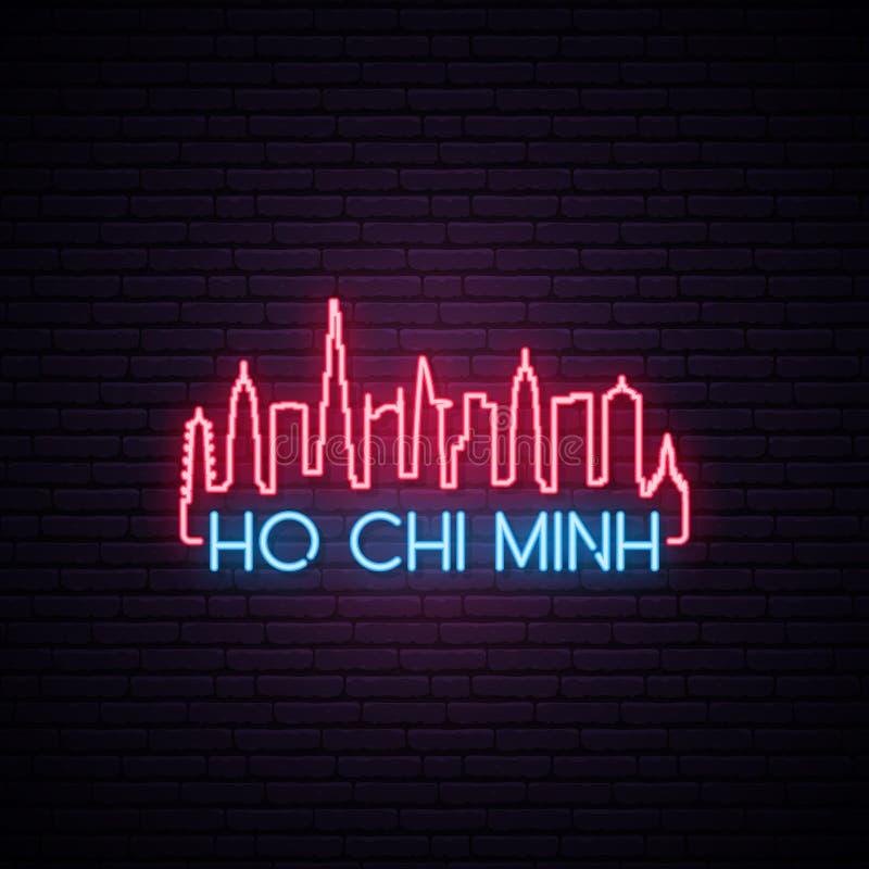 Skyline de néon do conceito da cidade de Ho Chi Minh ilustração stock