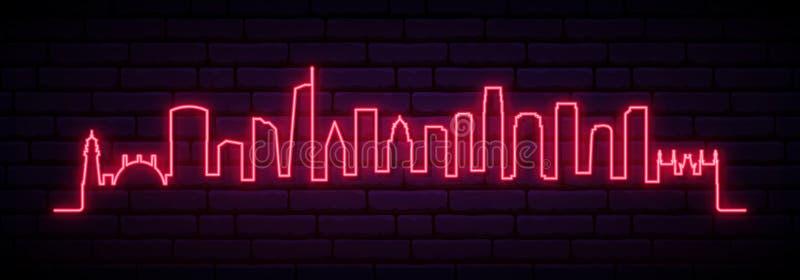 Skyline de n?on vermelha da cidade de Los Angeles ilustração stock