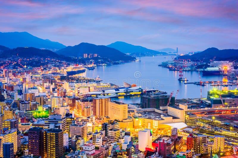 Skyline de Nagasaki, Japão imagem de stock royalty free