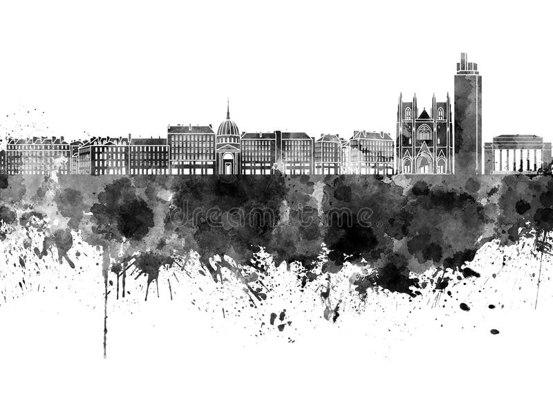 Skyline de Nantes na aquarela preta ilustração stock