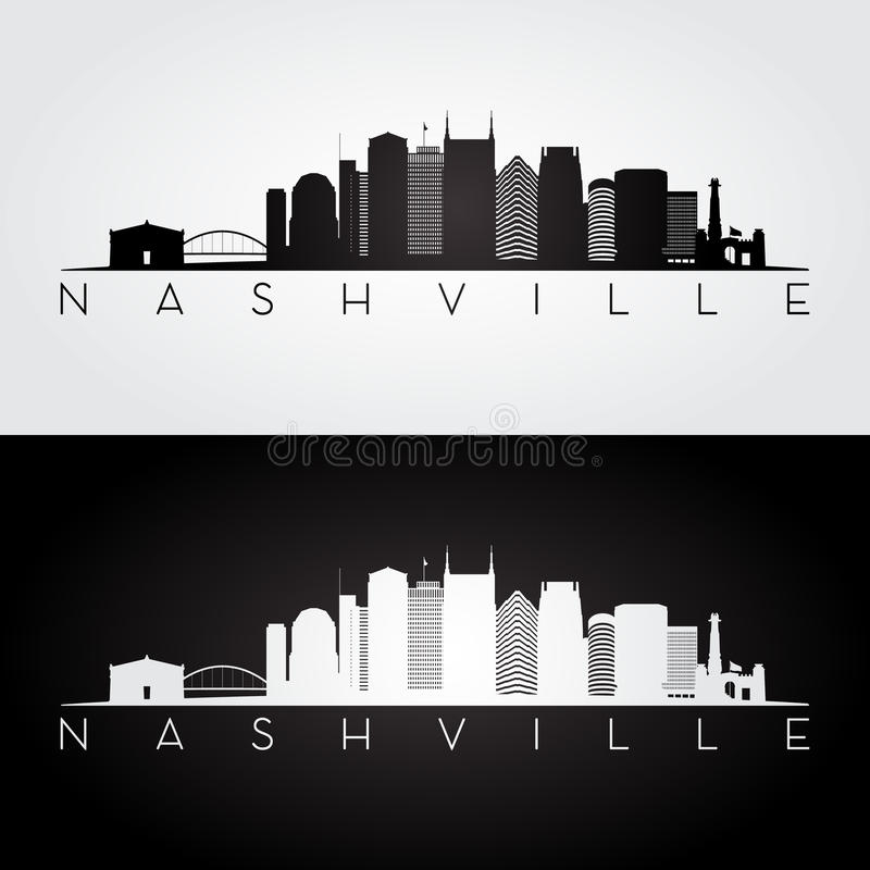 Skyline de Nashville EUA e silhueta dos marcos