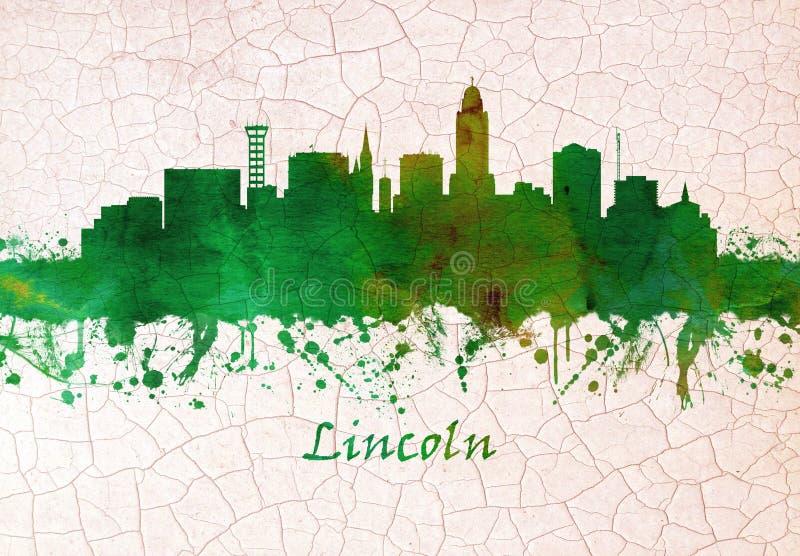 Skyline de Nebraska da cidade de Lincoln ilustração royalty free