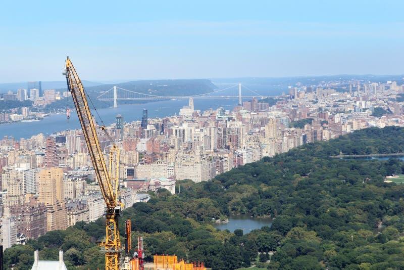 Skyline de New York City e de Central Park imagem de stock