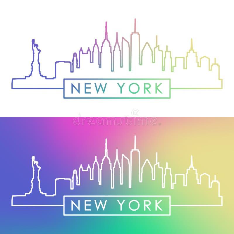 Skyline de New York Estilo linear colorido ilustração royalty free