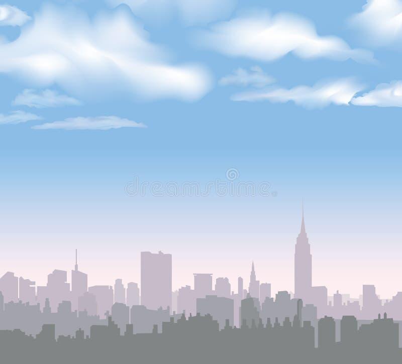 Skyline de New York Paisagem dos EUA do vetor Arquitetura da cidade no amanhecer ilustração stock