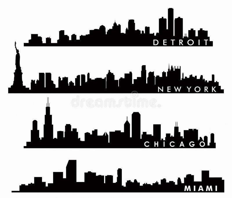 Skyline de New York, skyline de Chicago, skyline de Miami, skyline de Detroit ilustração royalty free