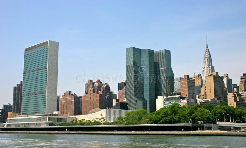 Skyline de NYC com edifício do UN fotos de stock royalty free