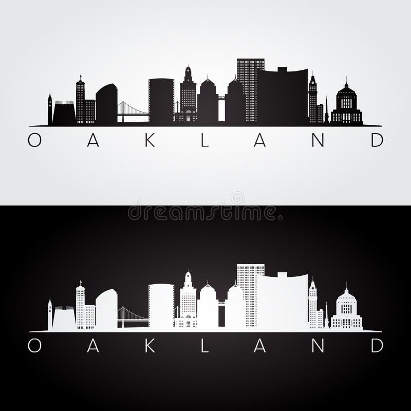 Skyline de Oakland, EUA e silhueta dos marcos ilustração stock