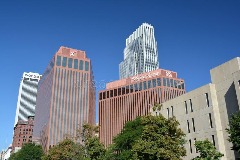 Skyline de Omaha Nebraska do centro imagens de stock royalty free