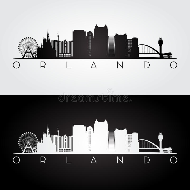 Skyline de Orlando EUA e silhueta dos marcos ilustração royalty free