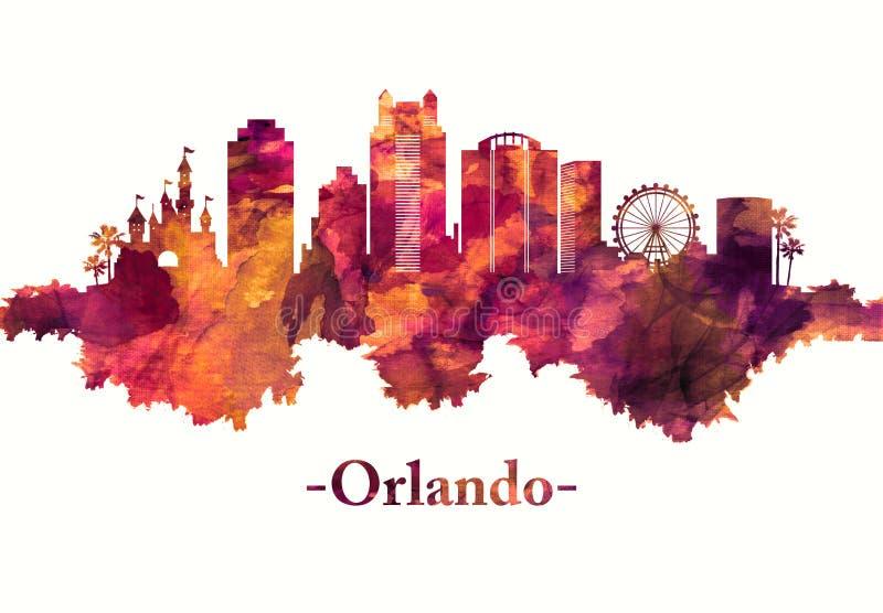 Skyline de Orlando Florida no vermelho ilustração royalty free