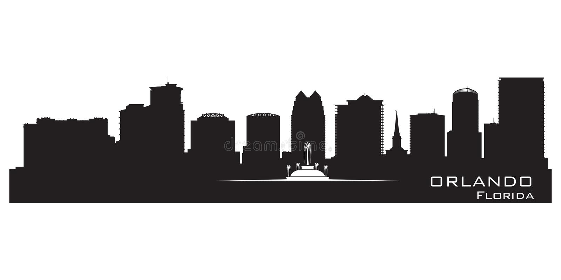 Skyline de Orlando, Florida Silhueta detalhada da cidade ilustração do vetor