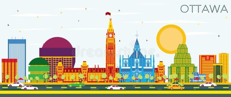 Skyline de Ottawa com construções da cor e o céu azul ilustração do vetor