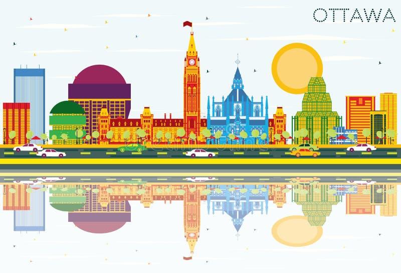 Skyline de Ottawa com construções da cor, o céu azul e as reflexões ilustração do vetor
