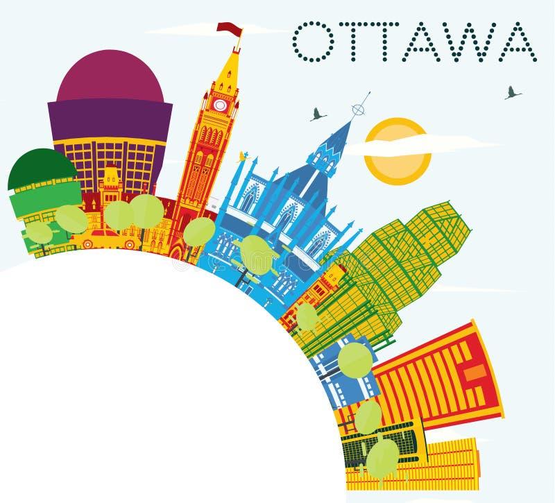 Skyline de Ottawa com construções da cor, o céu azul e o espaço da cópia ilustração royalty free