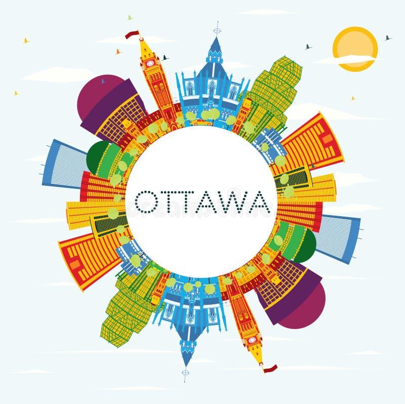 Skyline de Ottawa com construções da cor, o céu azul e o espaço da cópia ilustração stock