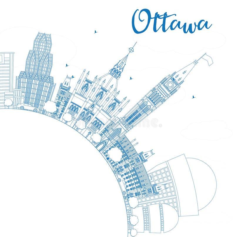 Skyline de Ottawa do esboço com construções e espaço azuis da cópia ilustração royalty free