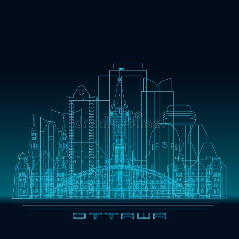 Skyline de Ottawa, silhueta detalhada ilustração stock