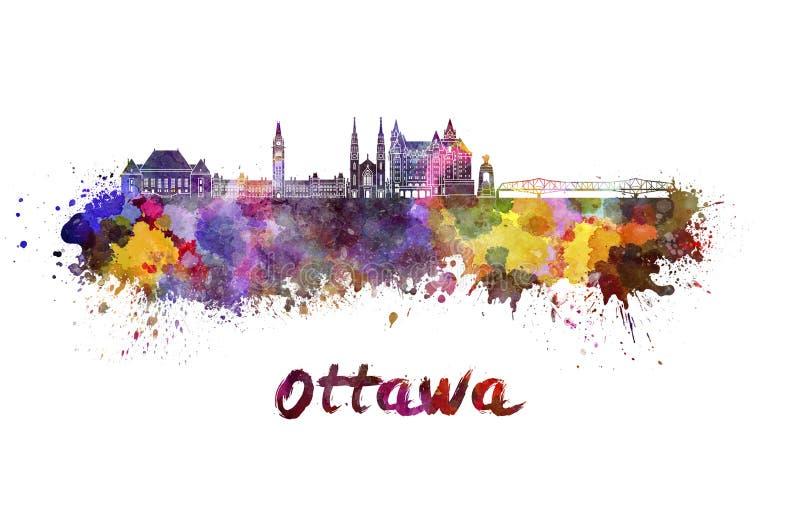 Skyline de Ottawa V2 na aquarela ilustração stock