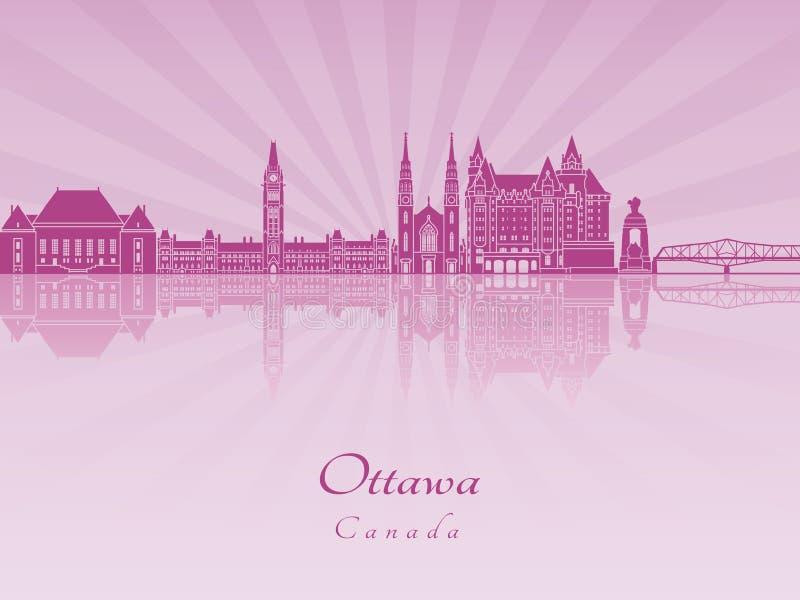 Skyline de Ottawa V2 na orquídea brilhante roxa ilustração stock
