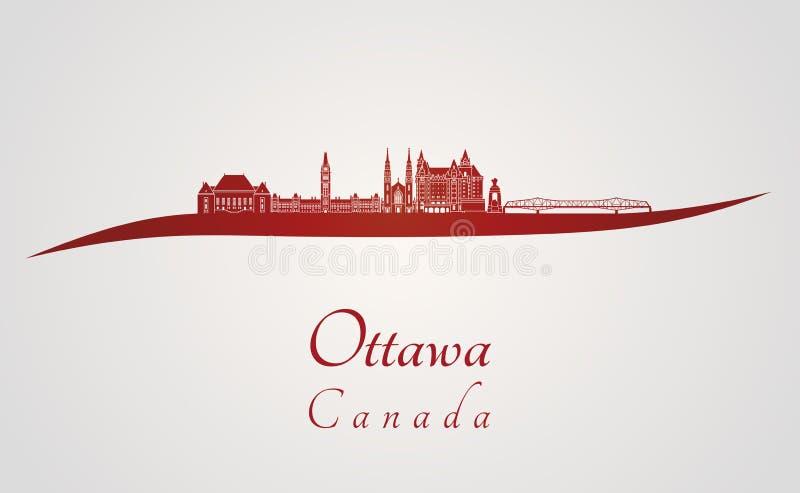 Skyline de Ottawa V2 no vermelho ilustração royalty free