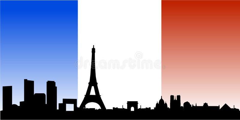 Skyline de Paris com bandeira francesa