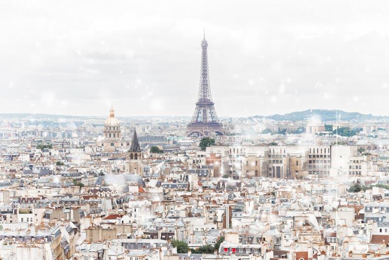 Skyline de Paris com torre Eiffel foto de stock