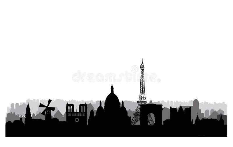 Skyline de Paris de Notre Dame de Paris Arquitetura da cidade de Paris com marcos e buildin famosos ilustração do vetor