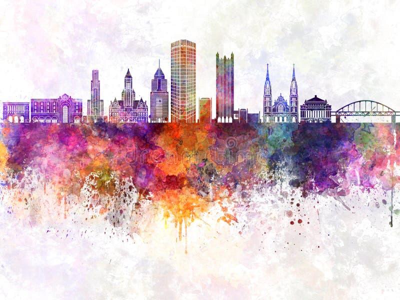 Skyline de Pittsburgh V2 no fundo da aquarela ilustração do vetor