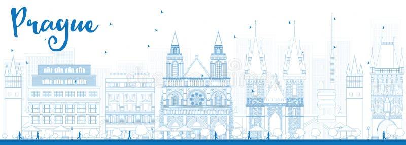 Skyline de Praga do esboço com marcos azuis ilustração stock